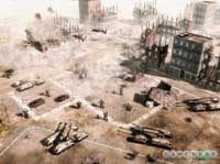 A GDI battle in a war-torn city.